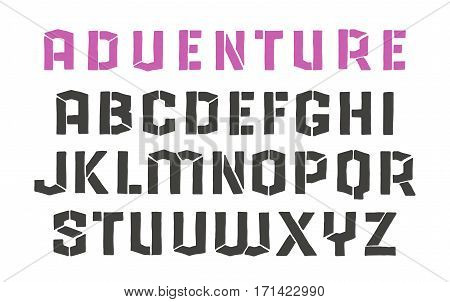 Stencil-plate sanserif font in the style of hand-drawn graphics. Isolated on white background