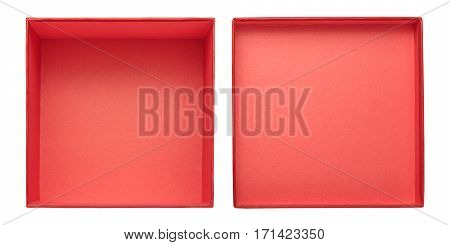 Opened gift box with cover isolated on white background. Flat lay