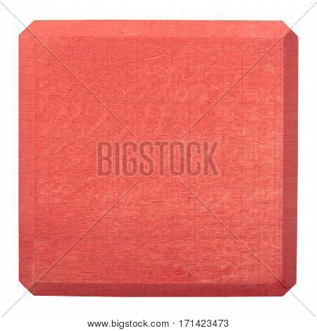 Red wooden block isolated on white background. Flat lay