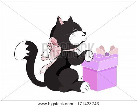 the little kitten smiles and holds the gift happy birthday card