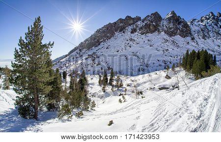 Winter in High Tatras mountains Slovakia. Valley Mala Studena Dolina