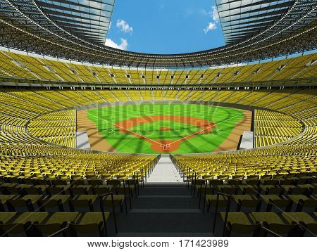 3D render of baseball stadium with yellow seats VIP boxes and floodlights for hundred thousand people