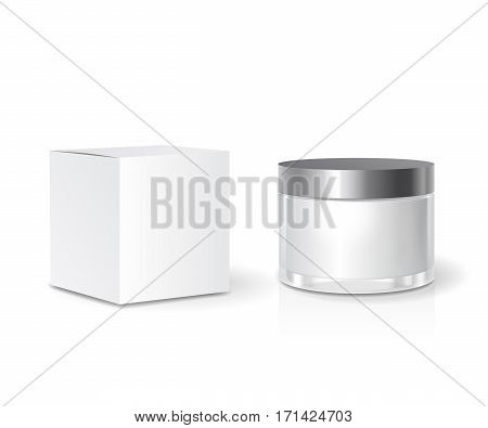 Cosmetic collection Box and skin care Cream jar template, blank white package. Realistic mock up.