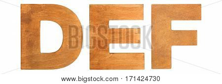 Old wooden letters DEF isolated on white background. One from the full alphabet set