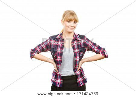 Gardening concept. Smiling attractive woman in pink check shirt and dungarees hands on hips. Isolated background
