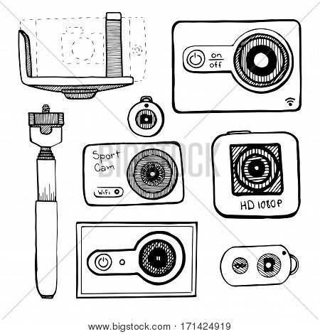 Set the sport camera action camera isolated on white background. Vector illustration in sketch style