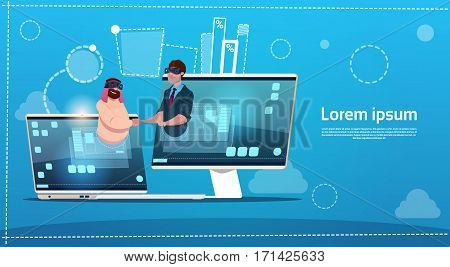Business People Hand Shake Virtual Meeting Digital Reality Glasses Flat Vector Illustration