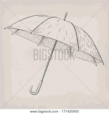 Umbrella or parasol vintage retro black linear illustration on beige background