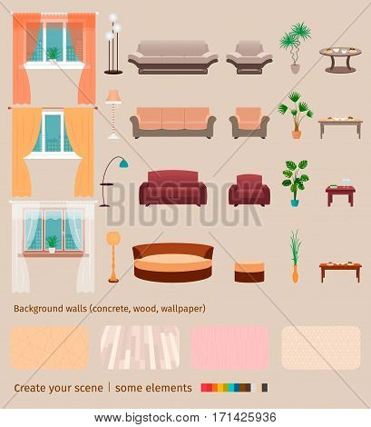Set of domestic living room elements and furniture to create your own home interior scene. Flat style vector illustration