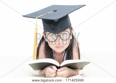 Asian School Kid Graduate Reading Book With Graduation Cap Isolated