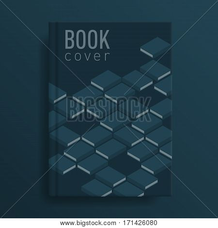 Book cover mockup with book ornament. Deep indigo colour. Blank template Idea for diary or textbook cover. Design for school or educational institution. Vector illustration art.