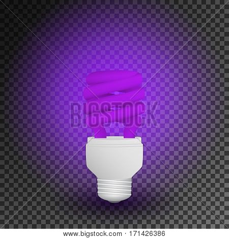 Fluorescent ultraviolet economical light bulb glowing on a transparent background. Save energy lamp. Realistic vector illustration.