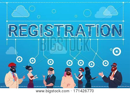 Mix Race People Group Wear Digital Reality Glasses Registration Log In Concept Flat Vector Illustration