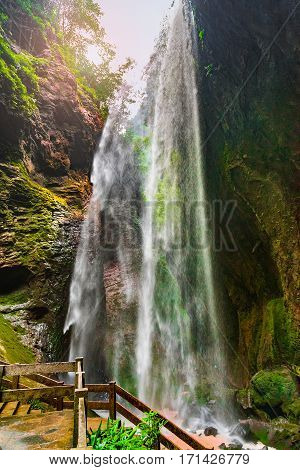Giant Waterfalls in Longshuixia Fissure National park Wulong country Chongqing China