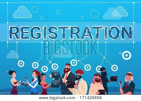 Mix Race People Group Using Gadgets Registration Log In Concept Flat Vector Illustration