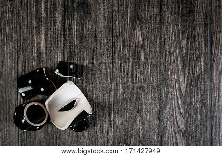 Smash Cup Of Coffee On Wooden Background. Closeup, Free Space For Text.