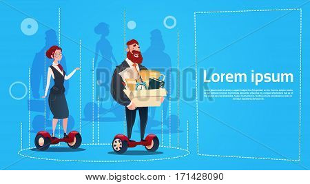 Business Man And Woman Ride Electric Scooter Carry Box Candidates Employees Human Resources Flat Vector Illustration