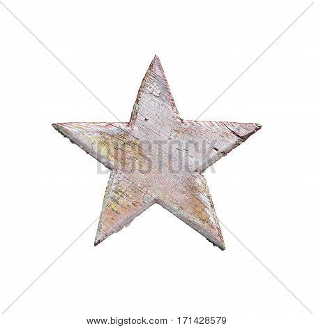 old wooden five-pointed star painted with peeling red paint on green wooden wall isolated on white background