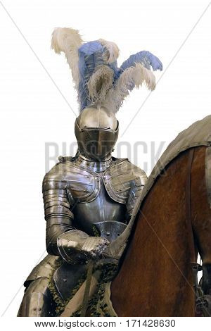knight in shining steel armor and a helmet with feathers on the horse isolated