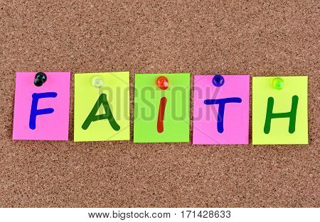Faith word on colorful notes close up