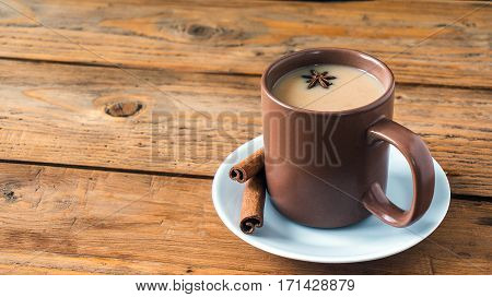 Traditional Indian Black Tea. Masala Tea. Spiced Tea With Milk