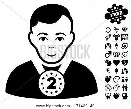 2nd Prizer Sportsman icon with bonus decoration pictograph collection. Vector illustration style is flat iconic black symbols on white background.