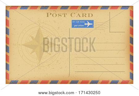 Vector air mail old postcard with compass . Grunge paper vintage post card. Isolated on white.