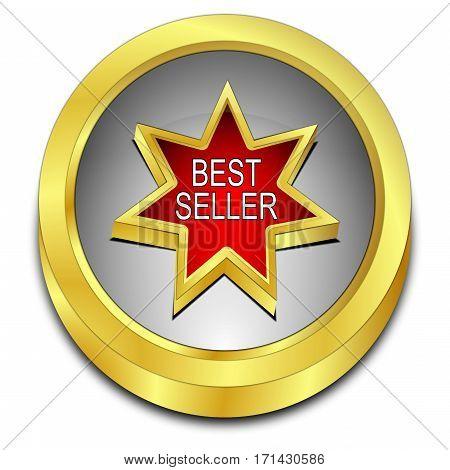 golden silver red Bestseller button - 3D illustration