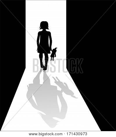 Girl silhouette in the dark with deformed shadow