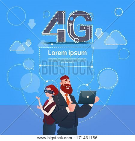 Business Man Woman Wear Digital Glasses Use Laptop Computer 4g Internet Speed Flat Vector Illustration