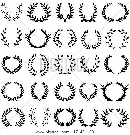Hand drawn decorative floral set of 25 wreaths made in vector. Unique collection of laurel wreaths and branches in black color.