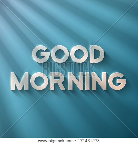 Illustration of Good Morning Phrase on a Wooden Background with Sun shine Flares Comming from Window