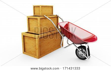 Wooden crates and wheel barrow 3d illustration isolated on white background