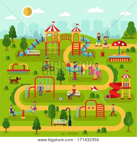 Flat design vector landscape illustration of park map with kids playground and attractions. Infographic design of amusement park for children. Kids play on playground with mother and father
