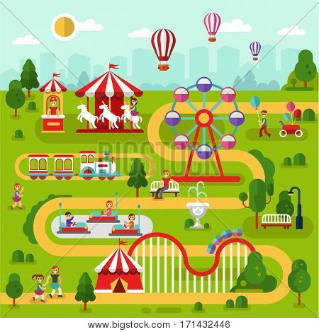 Flat design vector landscape illustration of spend time in amusement park. Air balloons, carousel, ferris wheel, roller coasters, attractions, train, people walking. Infographics map elements.