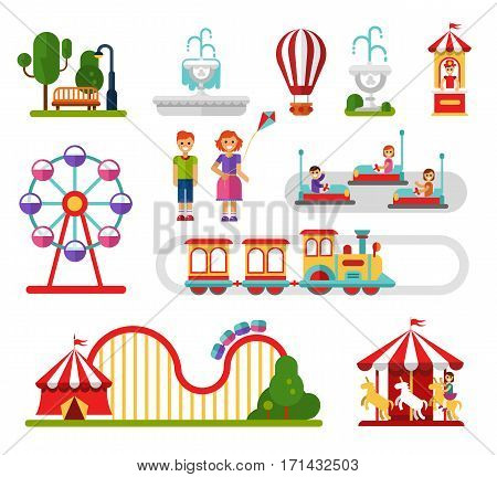 Flat design vector icons set of amusement park and attractions elements for infographic map design. Carousel, ferris wheel, roller coaster, train, cars, smiling boy and girl. Rest in the park concept.