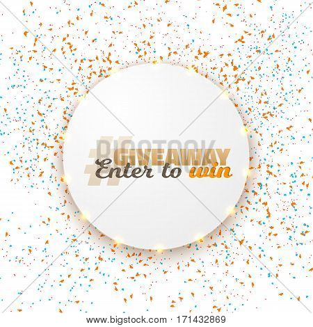 Illustration of Vector Button Giveaway Competition Template. Realistic Button with Confetti. Enter to Win Prize Social Media Promotion Concept