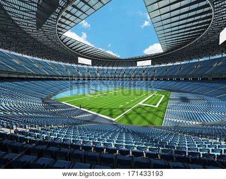 3D Render Of A Round Football Stadium With Sky Blue Seats For Hundred Thousand Fans.