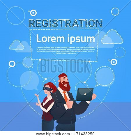 Business Man And Woman Wear Digital Glasses Use Laptop Computer Registration Concept Flat Vector Illustration