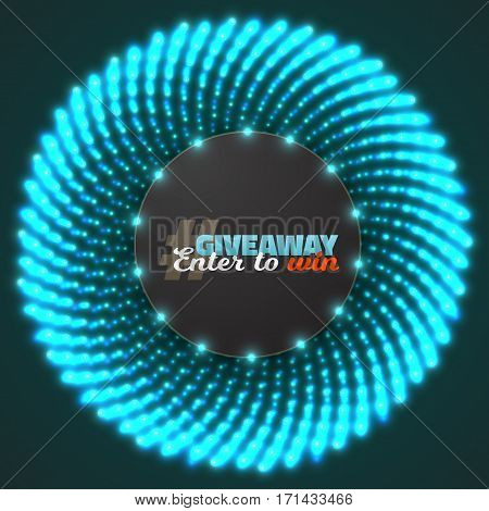 Illustration of Vector Button Giveaway Competition Template. Realistic Button with Glow Light Enter to Win Prize Concept