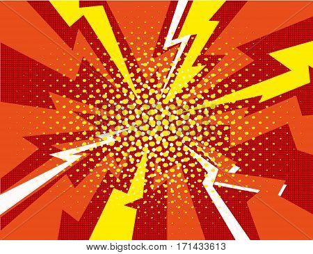 Vector halftone pop art comic style lightning vector background dots