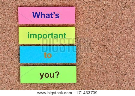 What's important to you question on colorful notes