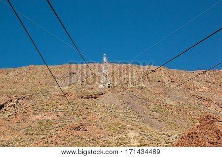 funicular on a cableway to the volcano Teide in Tenerife Canary Islands Spain