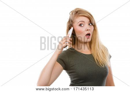 Angry Young Woman Talking On Phone