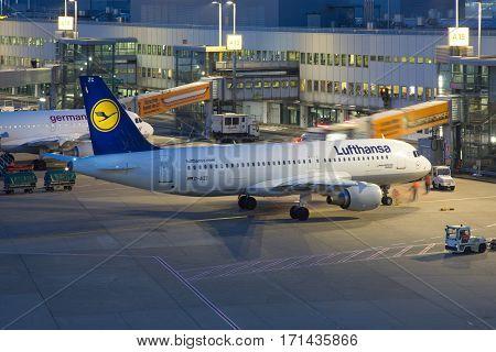 Lufthansa Airbus A320 Airplane Dusseldorf Airport At Night