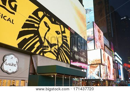 NEW YORK, NY - MARCH 14, 2016: advertisement for the musical adaptation of The Lion King. The Lion King is a 1994 American animated epic musical film.