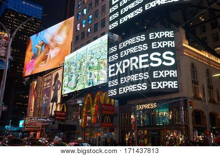 NEW YORK, NY - MARCH 14, 2016: McDonald's at Times Square. McDonald's is an American hamburger and fast food restaurant chain.