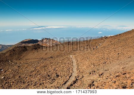View at the top of the volcano Teide in Tenerife, Spain