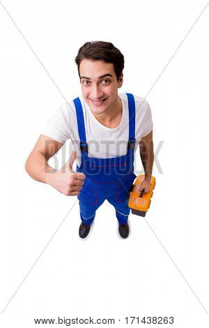 Funny repairman with tools isolated on white