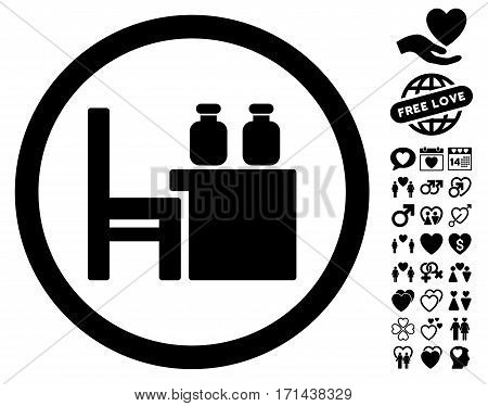 Apothecary Table icon with bonus amour symbols. Vector illustration style is flat iconic black symbols on white background.